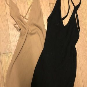 Pair: nude & black ribbed dresses